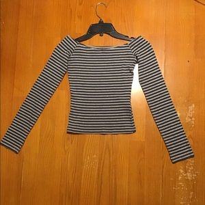 Long sleeved striped gray and navy shirt